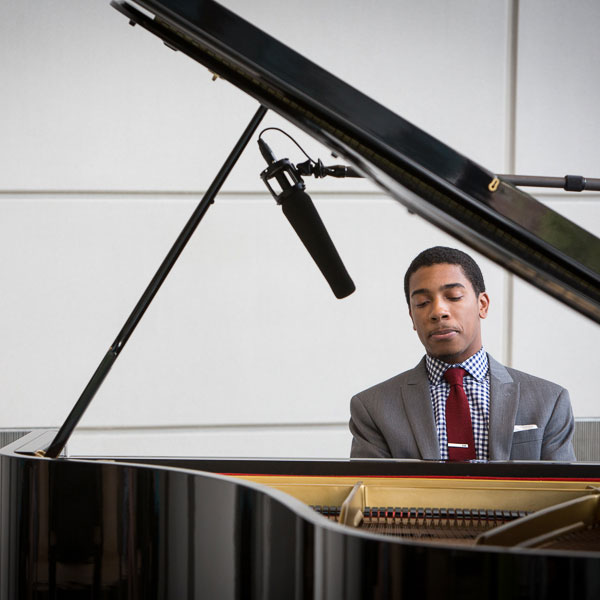 Christian Sands performing at Eskenazi Health